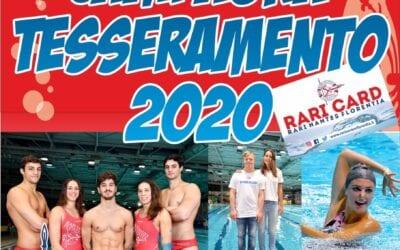 """CAMPAGNA TESSERAMENTO SOCI 2020  """"Rari Nantes Florentia, dove familiarità fa rima con professionalità"""""""